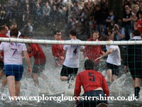 Football in the River Windrush at Bourton on the Water