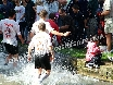 ... and celebrate, soaking the spectators...