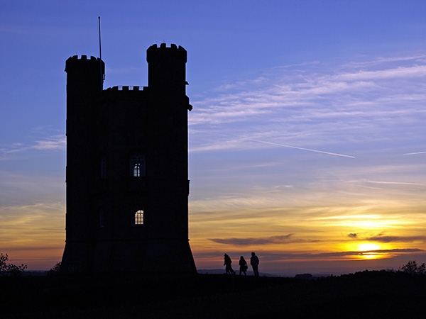 Broadway Tower and sunset over the Cotswolds