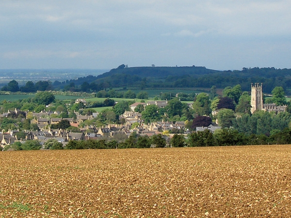 Looking over the Cotswold town of Chipping Campden with Dover Hill in the background