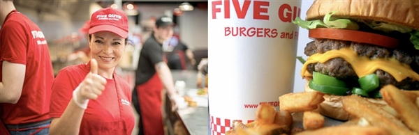 Five Guys is located in The Brewery Quarter in Cheltenham