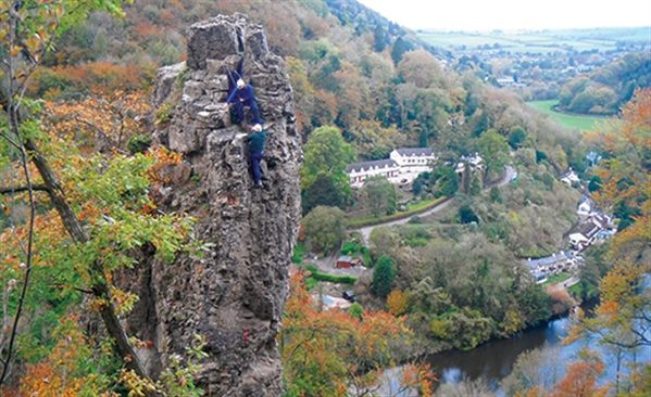 Forest Adventure activities include rock climbing at Symonds Yat