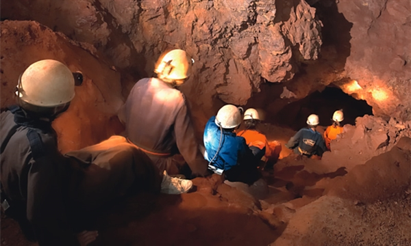 Caving at Clearwell Caves in the Forest of Dean