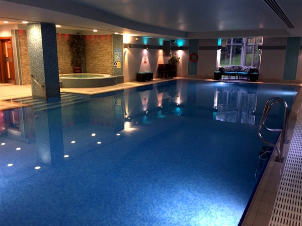 The luxury swimming pool and spa faclities at The Cheltenham Chase Hotel