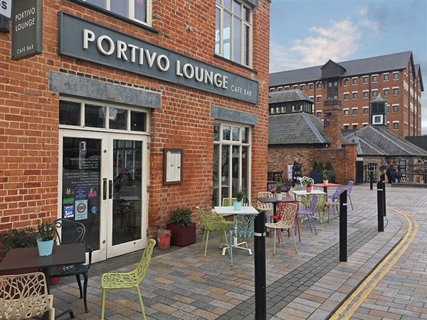 Portivo Lounge at Gloucester Quays in the historic Gloucester Docks
