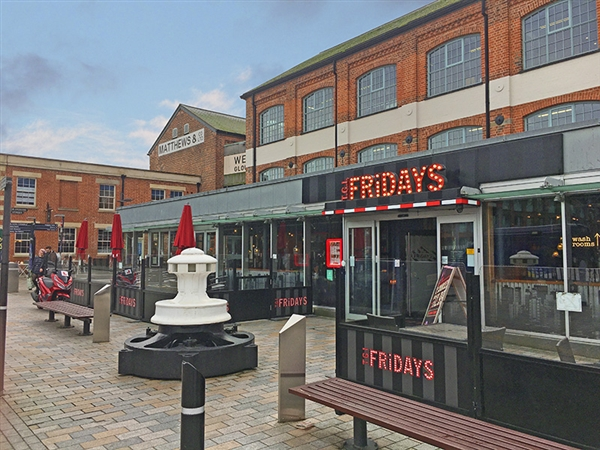 TGI Fridays at Gloucester Quays in the historic Gloucester Docks