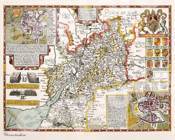 Click to enlarge old map of Gloucestershire by John Speede, c.1610