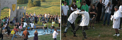 Mad antics including the famous 'shin kicking' at the Robert Dover Olympick Games near Chipping Campden in the Cotswolds.