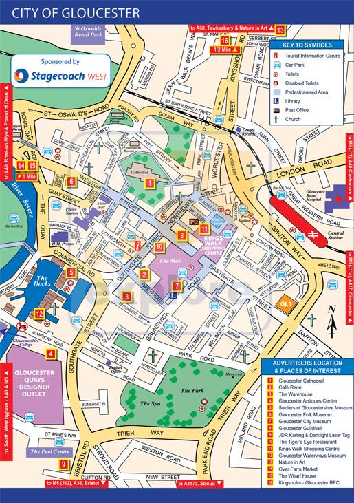 Gloucester Map  Exploregloucestershirecouk the premier website