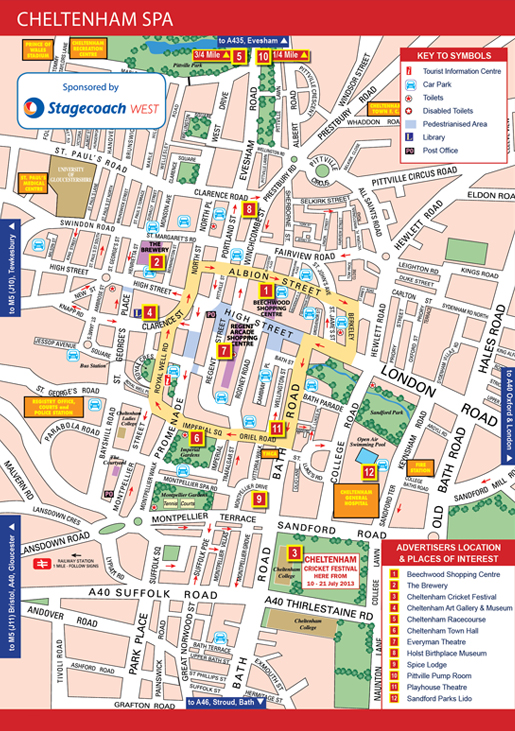 Street map of Cheltenham Spa
