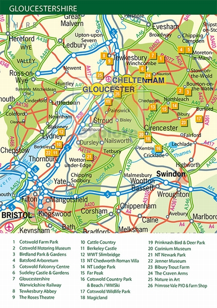 Map Of Uk Gloucester.Map Of Gloucestershire Exploregloucestershire Co Uk The Premier