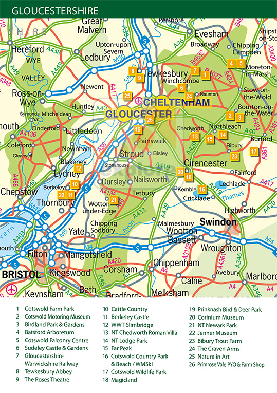 Map of Gloucestershire  Exploregloucestershirecouk the premier