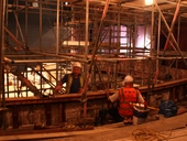 Workers on the dress circle