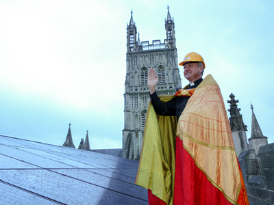Solar panels on Gloucester Cathedral