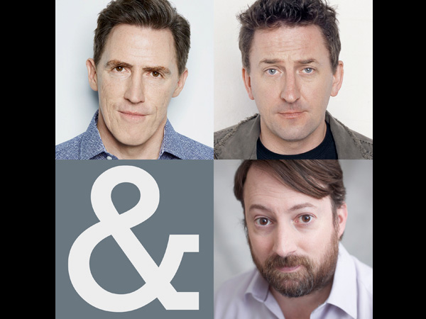 Rob Brydon, David Mitchell and Lee Mackat the Everyman Theatre, Cheltenham