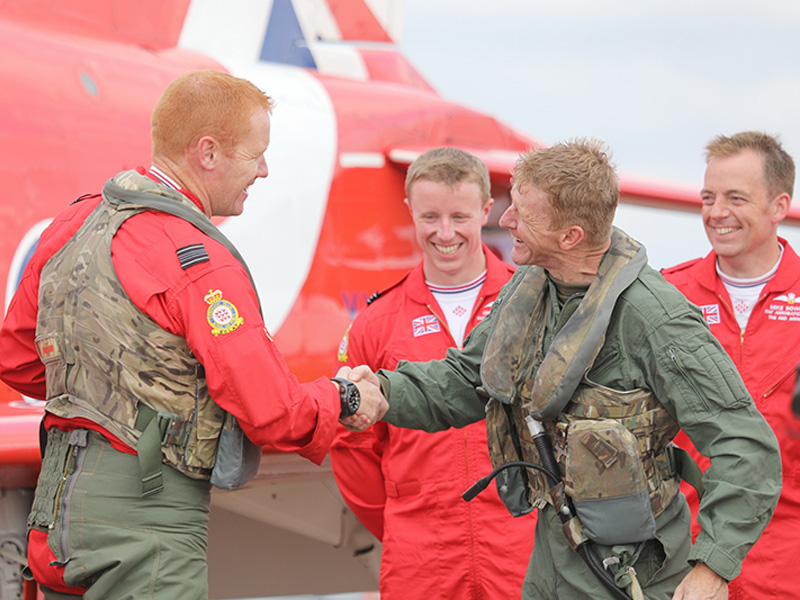 Tim Peake takes off with Red Arrows at Royal International Air Tattoo