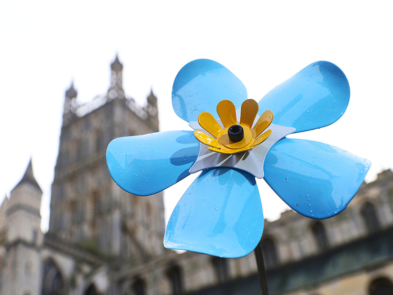 Forget Me Not art display at Gloucester Cathedral