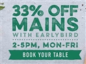 33% off mains with Earlybird